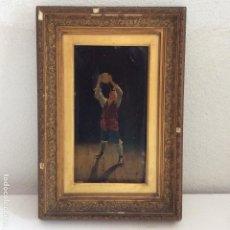 Arte: ÓLEO SOBRE TABLA ,REPRESENTANDO A JOVEN MANO ,FIRMA ILEGIBLE. Lote 275929363
