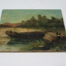 Arte: OLEO SOBRE TABLA. ESCENA DE BARCA EN UN RÍO. FIRMA ILEGIBLE.. Lote 276029493