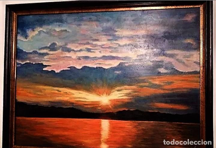Arte: ATARDECER EN EL MAR AUTOR ILEGIBLE S.XX - Foto 2 - 276148548