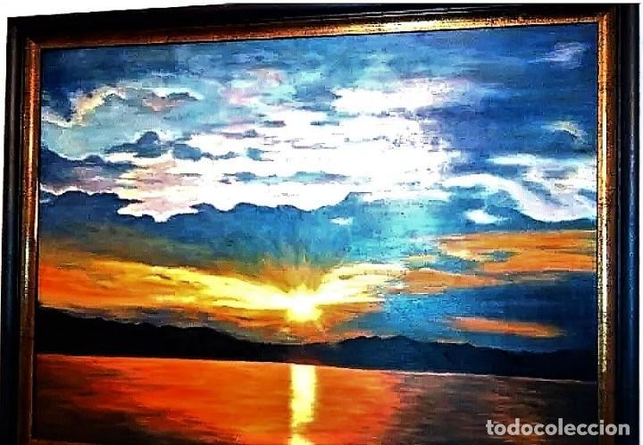 Arte: ATARDECER EN EL MAR AUTOR ILEGIBLE S.XX - Foto 3 - 276148548
