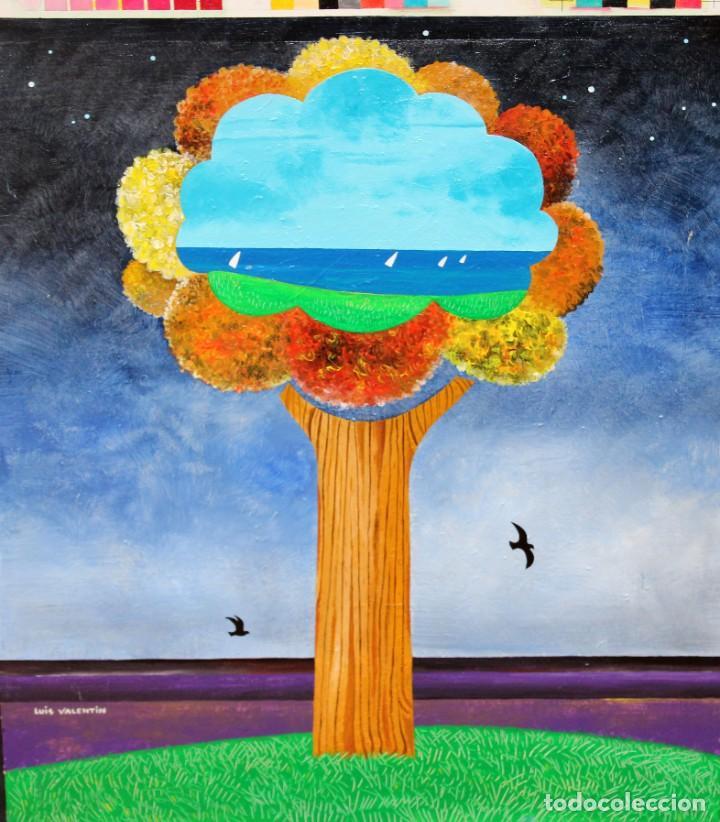 FIRMADO LUIS VALENTIN. OLEO SOBRE TABLA. COMPOSICION (Arte - Pintura - Pintura al Óleo Contemporánea )