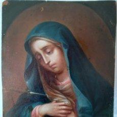 Arte: VIRGEN DOLOROSA.ÓLEO SOBRE COBRE DE ESCUELA SEVILLANA. SIGLO XVIII. Lote 276172023