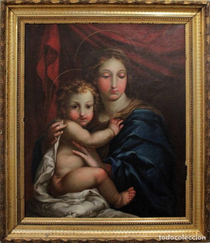 VICENTE LÓPEZ PORTAÑA (1772-1850) VIRGEN CON EL NIÑO JESÚS. O/L (Arte - Pintura - Pintura al Óleo Antigua siglo XVIII)