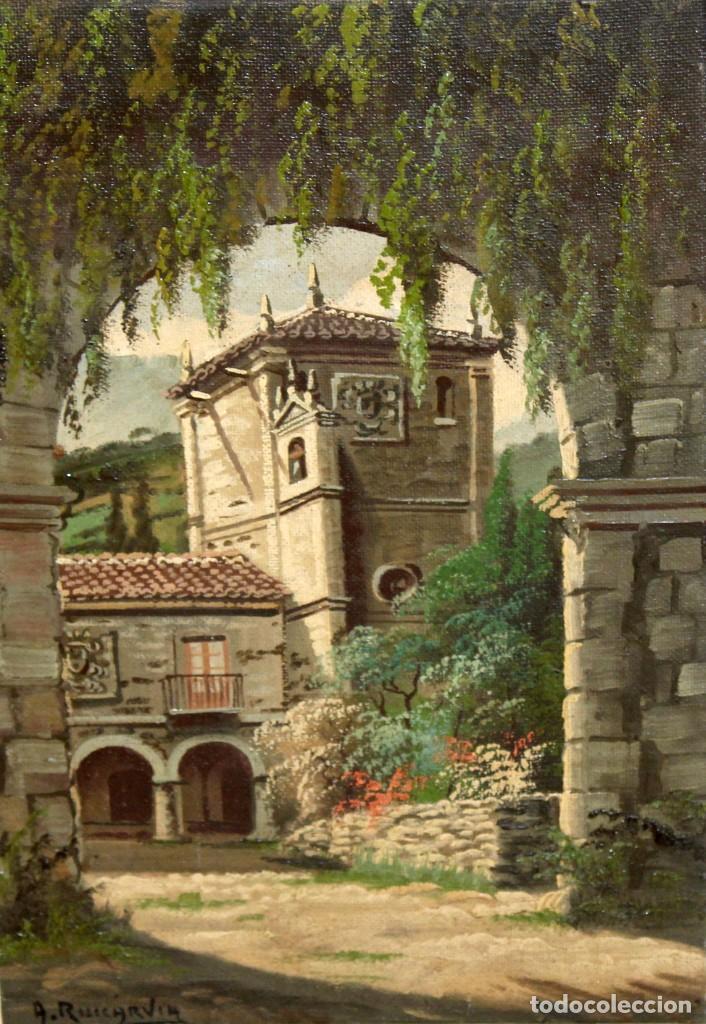 ANTONIO RUICARVIA (BILBAO, SIGLO XX) OLEO SOBRE TELA ARPILLERA Y ADHERIDO A TABLA. CASERIO (Arte - Pintura - Pintura al Óleo Contemporánea )