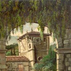 Arte: ANTONIO RUICARVIA (BILBAO, SIGLO XX) OLEO SOBRE TELA ARPILLERA Y ADHERIDO A TABLA. CASERIO. Lote 276239193