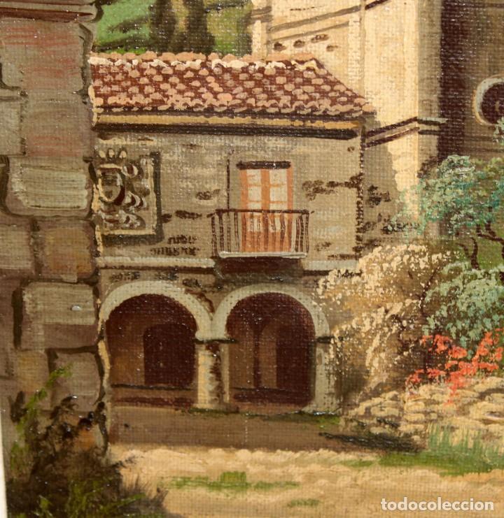 Arte: ANTONIO RUICARVIA (Bilbao, Siglo xx) OLEO SOBRE TELA ARPILLERA Y ADHERIDO A TABLA. CASERIO - Foto 5 - 276239193