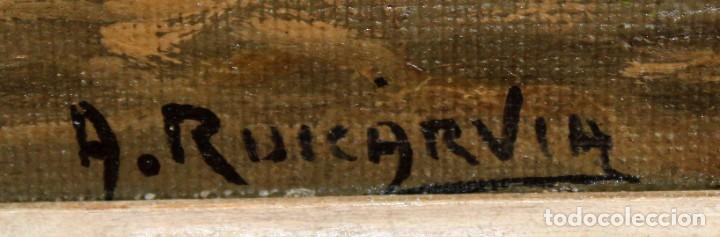 Arte: ANTONIO RUICARVIA (Bilbao, Siglo xx) OLEO SOBRE TELA ARPILLERA Y ADHERIDO A TABLA. CASERIO - Foto 7 - 276239193