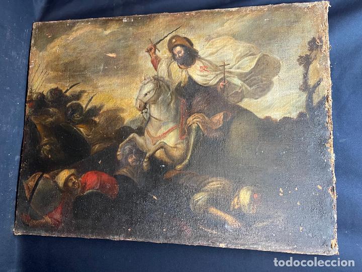 SANTIAGO MATAMOROS, OLEO SOBRE LIENZO S.XVIII. DEFECTOS RESEÑADOS EN FOTOS. (Arte - Pintura - Pintura al Óleo Antigua siglo XVIII)