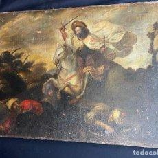 Arte: SANTIAGO MATAMOROS, OLEO SOBRE LIENZO S.XVIII. DEFECTOS RESEÑADOS EN FOTOS.. Lote 276240448