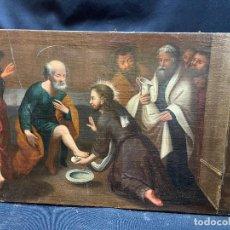 Arte: JESUS LAVANDO LOS PIES A SUS DISCIPULOS. OLEO SOBRE LIENZO, SIGLO XVIII.. Lote 276241983