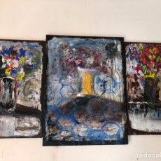 Arte: FLOWERS MAGNIFIQUE TRITTICO. Lote 276249448