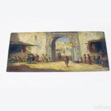 Arte: ANTIGUO PINTURA AL OLEO SOBRE TABLA DE UN MERCADO DE MARRUECOS FIRMADO. Lote 276350923
