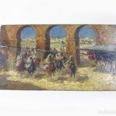Arte: ANTIGUO PINTURA AL OLEO SOBRE TABLA DE UNA CARGA DE CABALLERÍA EN MARRUECOS FIRMADO. Lote 276354533