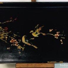 Arte: ANTIGUA BANDEJA CHINA MADERA PINTADA A MANO. Lote 276366963