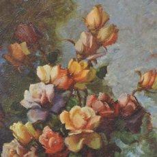 Arte: BODEGÓN CON JARRÓN DE FLORES, PINTURA AL ÓLEO SOBRE TELA, FIRMA ILEGIBLE, CON MARCO. 40X31CM. Lote 276458553