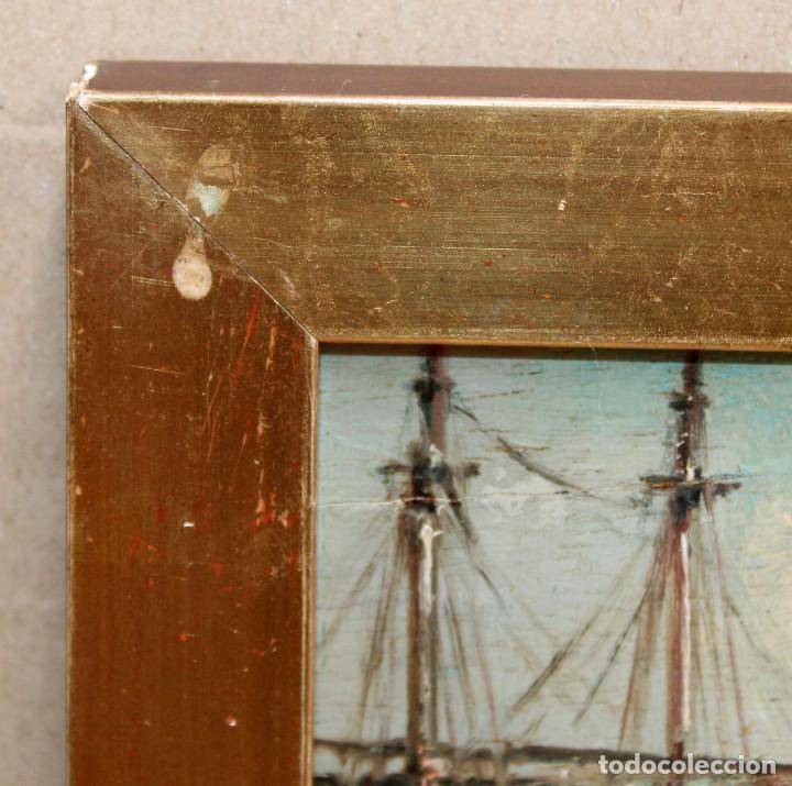 Arte: FRANCISCO ROJO MELLADO (Málaga,1817-1890) OLEO SOBRE TABLA. PUERTO DE MALAGA - Foto 9 - 276281643