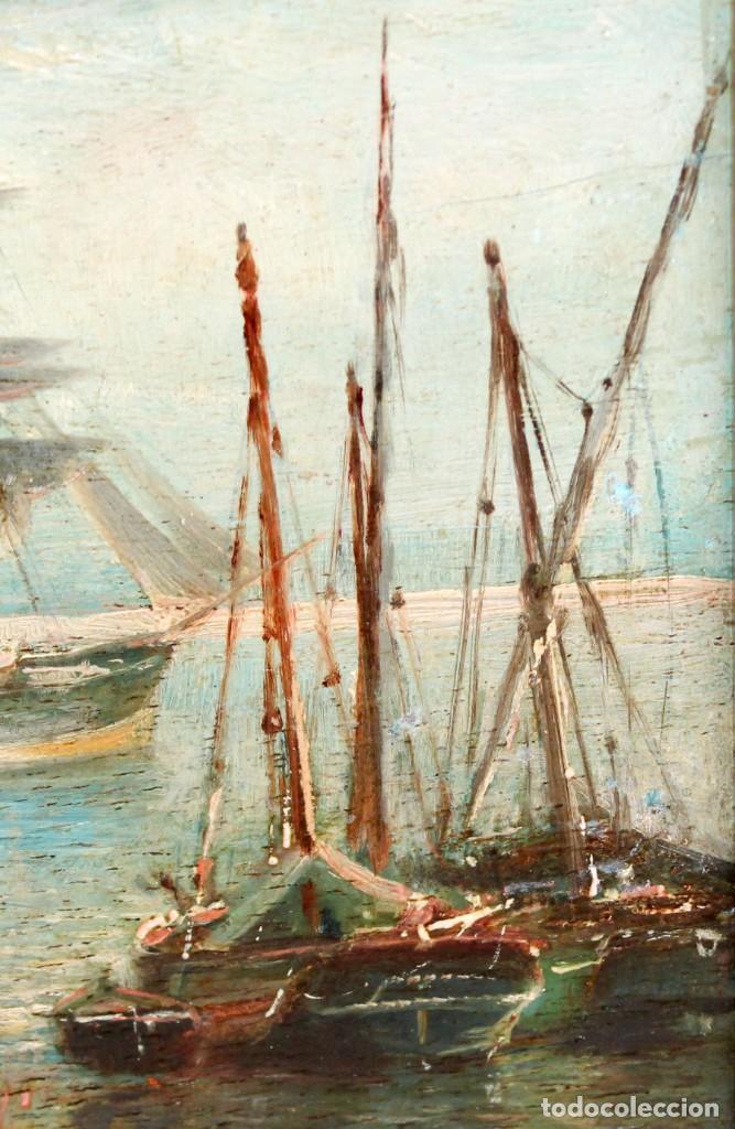 Arte: FRANCISCO ROJO MELLADO (Málaga,1817-1890) OLEO SOBRE TABLA. PUERTO DE MALAGA - Foto 3 - 276281643