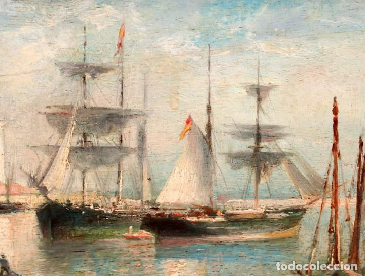 Arte: FRANCISCO ROJO MELLADO (Málaga,1817-1890) OLEO SOBRE TABLA. PUERTO DE MALAGA - Foto 5 - 276281643