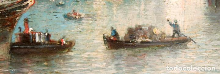 Arte: FRANCISCO ROJO MELLADO (Málaga,1817-1890) OLEO SOBRE TABLA. PUERTO DE MALAGA - Foto 7 - 276281643