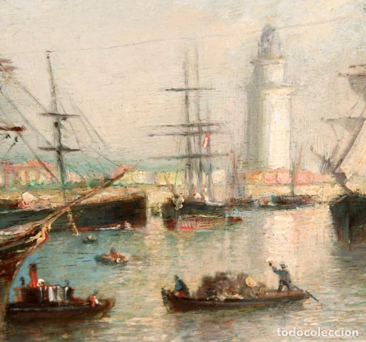 Arte: FRANCISCO ROJO MELLADO (Málaga,1817-1890) OLEO SOBRE TABLA. PUERTO DE MALAGA - Foto 6 - 276281643