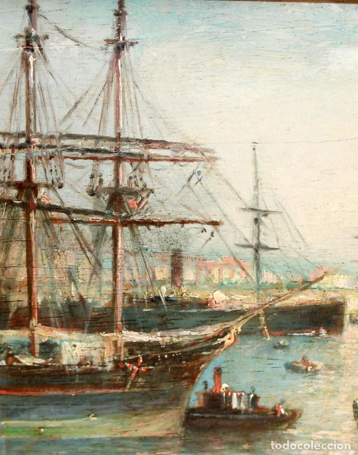 Arte: FRANCISCO ROJO MELLADO (Málaga,1817-1890) OLEO SOBRE TABLA. PUERTO DE MALAGA - Foto 4 - 276281643