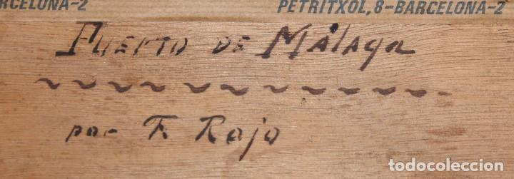 Arte: FRANCISCO ROJO MELLADO (Málaga,1817-1890) OLEO SOBRE TABLA. PUERTO DE MALAGA - Foto 11 - 276281643