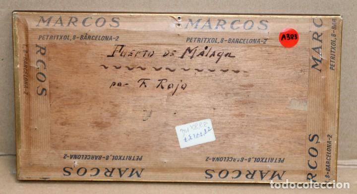 Arte: FRANCISCO ROJO MELLADO (Málaga,1817-1890) OLEO SOBRE TABLA. PUERTO DE MALAGA - Foto 10 - 276281643