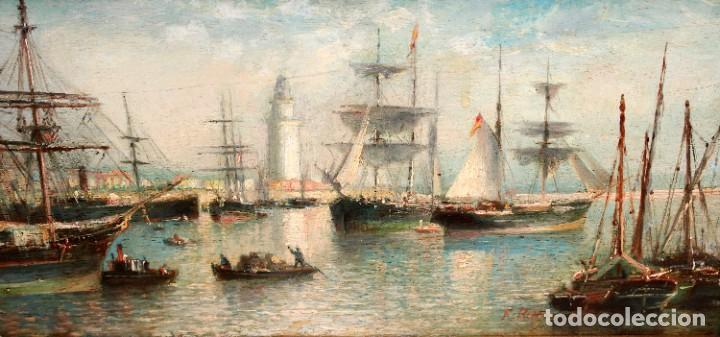 FRANCISCO ROJO MELLADO (MÁLAGA,1817-1890) OLEO SOBRE TABLA. PUERTO DE MALAGA (Arte - Pintura - Pintura al Óleo Moderna siglo XIX)