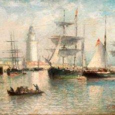 Arte: FRANCISCO ROJO MELLADO (MÁLAGA,1817-1890) OLEO SOBRE TABLA. PUERTO DE MALAGA. Lote 276281643