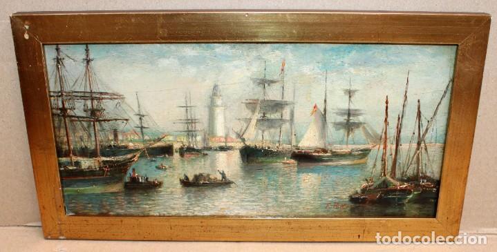 Arte: FRANCISCO ROJO MELLADO (Málaga,1817-1890) OLEO SOBRE TABLA. PUERTO DE MALAGA - Foto 2 - 276281643
