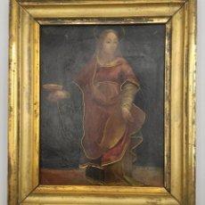 "Arte: ""SANTA ÁGUEDA DE CATALINA"" ÓLEO SOBRE COBRE, DEL SIGLO XVII.. Lote 276498618"