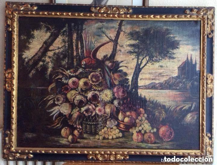 SIGLO XVIII ,BODEGÓN DE ESCUELA EUROPEA FINALES SIGLO XVIII -MEDIDA 95X75CM (Arte - Pintura - Pintura al Óleo Antigua sin fecha definida)
