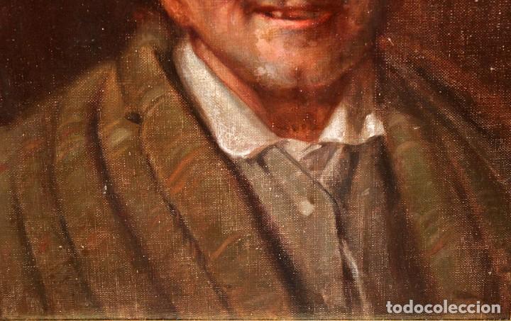 Arte: ESCUELA CATALANA DE PRINCIPIOS DEL SIGLO XX. OLEO SOBRE TABLA. RETRATO DE UN ANCIANO - Foto 4 - 276691903