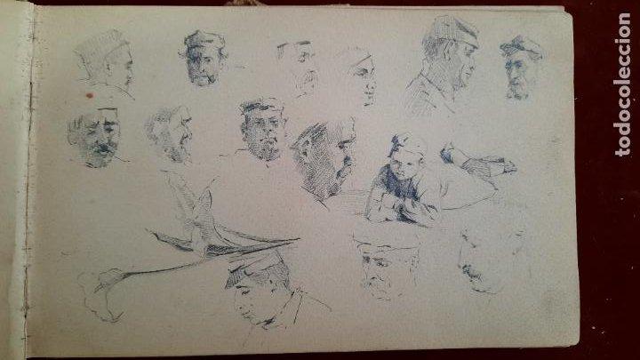 Arte: libreta de apuntes con mas de 100 dibujos un oleo victor morelli 1860,con obra en el museo del prado - Foto 4 - 276777683
