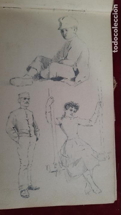 Arte: libreta de apuntes con mas de 100 dibujos un oleo victor morelli 1860,con obra en el museo del prado - Foto 7 - 276777683