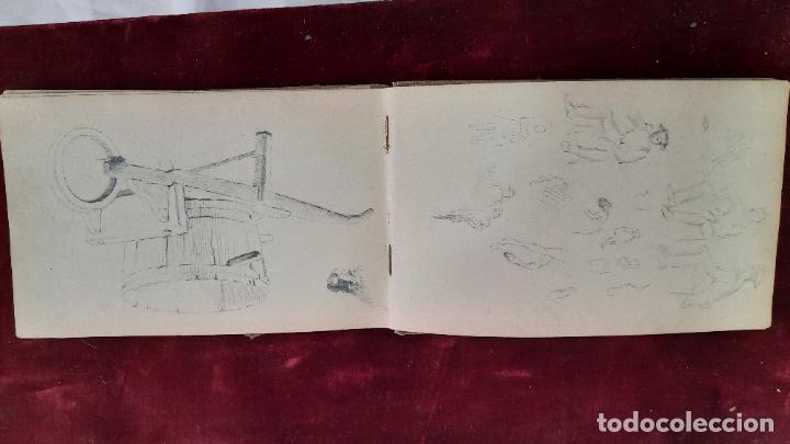 Arte: libreta de apuntes con mas de 100 dibujos un oleo victor morelli 1860,con obra en el museo del prado - Foto 8 - 276777683