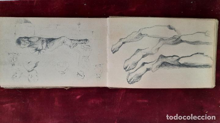 Arte: libreta de apuntes con mas de 100 dibujos un oleo victor morelli 1860,con obra en el museo del prado - Foto 9 - 276777683
