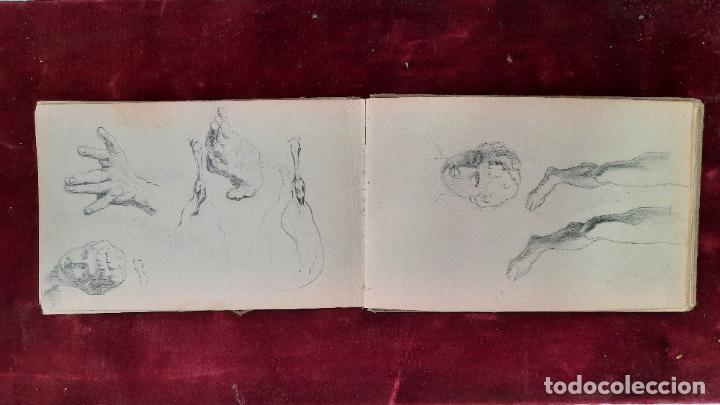 Arte: libreta de apuntes con mas de 100 dibujos un oleo victor morelli 1860,con obra en el museo del prado - Foto 10 - 276777683