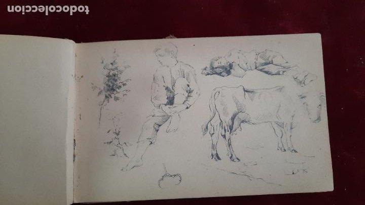 Arte: libreta de apuntes con mas de 100 dibujos un oleo victor morelli 1860,con obra en el museo del prado - Foto 11 - 276777683