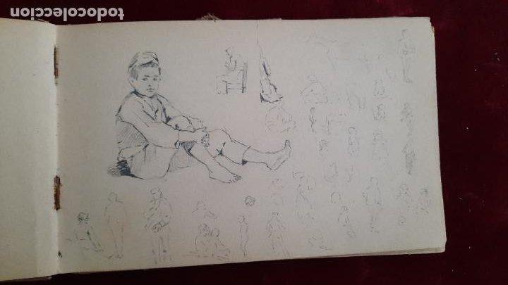 Arte: libreta de apuntes con mas de 100 dibujos un oleo victor morelli 1860,con obra en el museo del prado - Foto 12 - 276777683