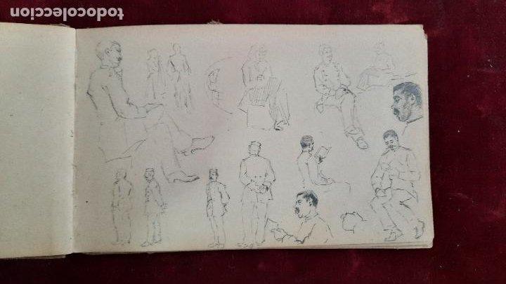 Arte: libreta de apuntes con mas de 100 dibujos un oleo victor morelli 1860,con obra en el museo del prado - Foto 13 - 276777683