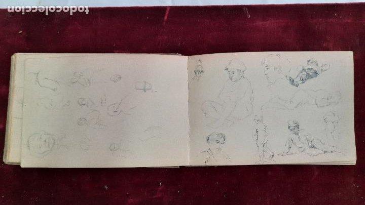 Arte: libreta de apuntes con mas de 100 dibujos un oleo victor morelli 1860,con obra en el museo del prado - Foto 14 - 276777683