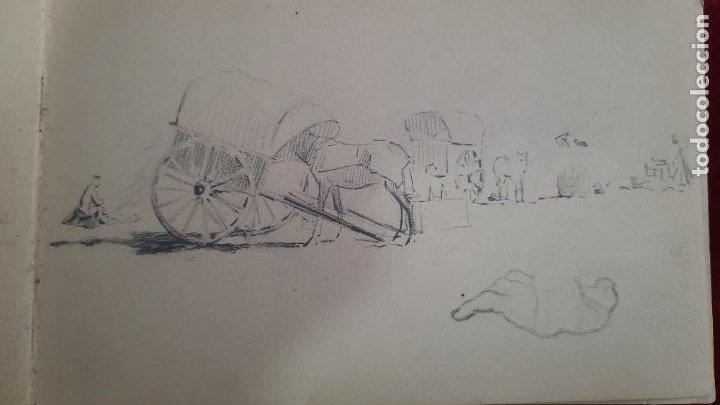 Arte: libreta de apuntes con mas de 100 dibujos un oleo victor morelli 1860,con obra en el museo del prado - Foto 21 - 276777683