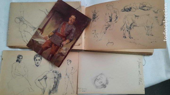Arte: libreta de apuntes con mas de 100 dibujos un oleo victor morelli 1860,con obra en el museo del prado - Foto 24 - 276777683