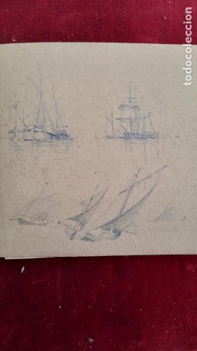 Arte: libreta de apuntes con mas de 100 dibujos un oleo victor morelli 1860,con obra en el museo del prado - Foto 30 - 276777683