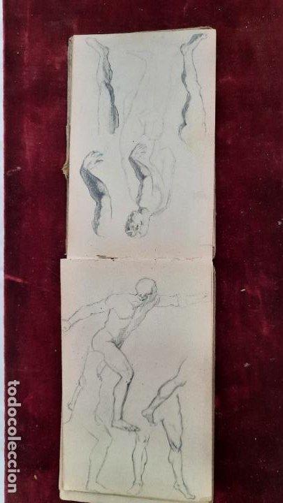Arte: libreta de apuntes con mas de 100 dibujos un oleo victor morelli 1860,con obra en el museo del prado - Foto 31 - 276777683