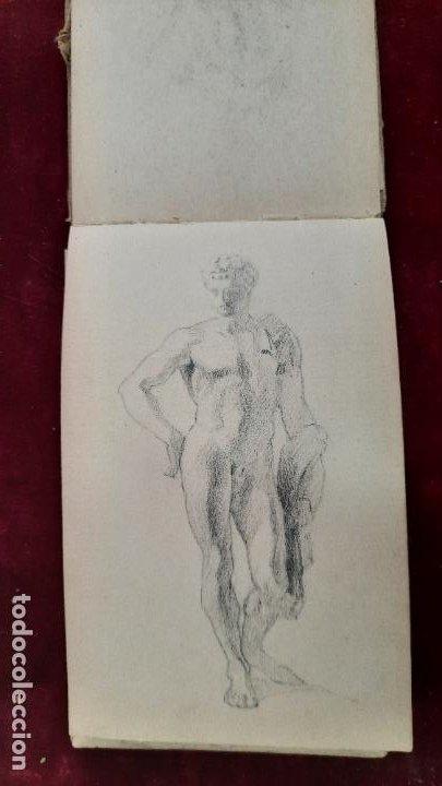 Arte: libreta de apuntes con mas de 100 dibujos un oleo victor morelli 1860,con obra en el museo del prado - Foto 32 - 276777683