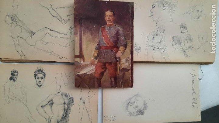 LIBRETA DE APUNTES CON MAS DE 100 DIBUJOS UN OLEO VICTOR MORELLI 1860,CON OBRA EN EL MUSEO DEL PRADO (Arte - Pintura - Pintura al Óleo Antigua sin fecha definida)