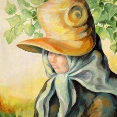 Arte: PILAR BUGALLAL Y VELA (A CORUÑA, 1933) OLEO SOBRE CARTON ENTELADO. RETRATO FEMENINO. Lote 277035243
