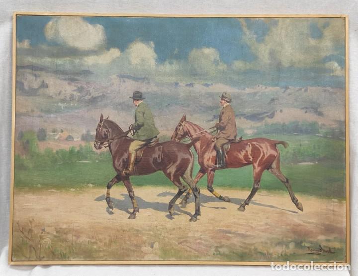 """ESCENA ECUESTRE"" ÓLEO SOBRE LIENZO- RAMON BORRELL PLA ( 1876-1973) (Arte - Pintura - Pintura al Óleo Contemporánea )"